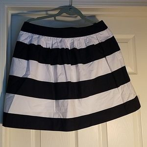 Navy Blue and White Striped Skirt